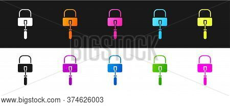 Set Lockpicks Or Lock Picks For Lock Picking Icon Isolated On Black And White Background. Vector Ill