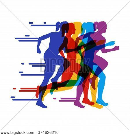 Running People Colorful Poster.running Marathon. Vector Creative Illustration With Run People