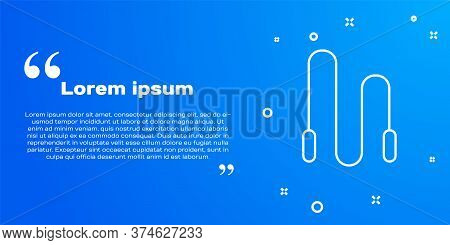 White Line Jump Rope Icon Isolated On Blue Background. Skipping Rope. Sport Equipment. Vector Illust