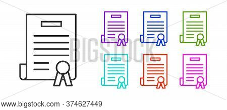 Black Line Declaration Of Independence Icon Isolated On White Background. Set Icons Colorful. Vector