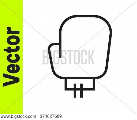 Black Line Boxing Glove Icon Isolated On White Background. Vector Illustration