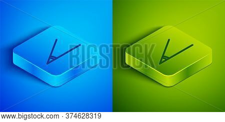 Isometric Line Acute Angle Of 45 Degrees Icon Isolated On Blue And Green Background. Square Button.