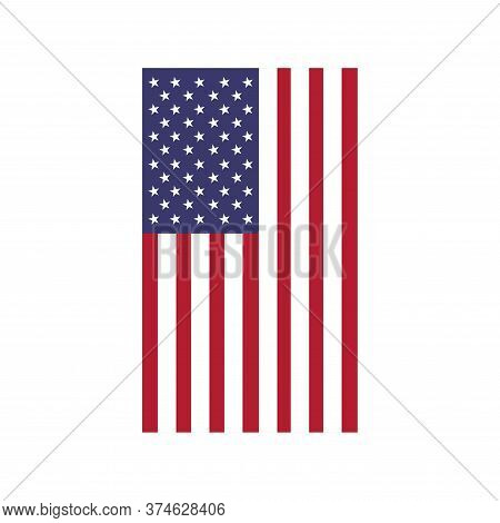 Vector Vertical  American Flag. Flag Of Usa
