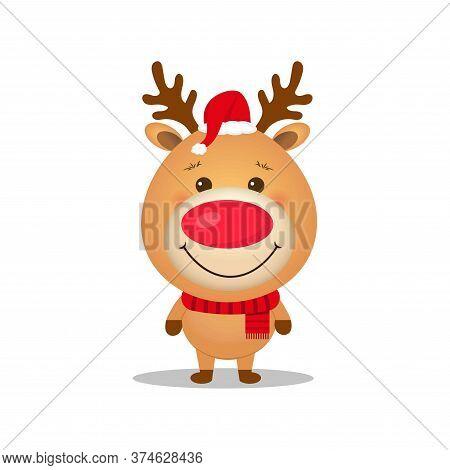 Vector Cute Cartoon  Reindeer.christmas Character.reindeer With Santa Hat