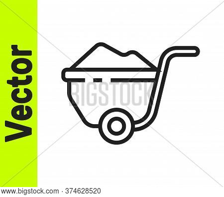 Black Line Wheelbarrow With Dirt Icon Isolated On White Background. Tool Equipment. Agriculture Cart