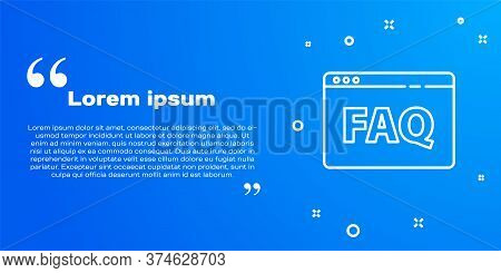 White Line Browser Faq Icon Isolated On Blue Background. Internet Communication Protocol. Vector Ill