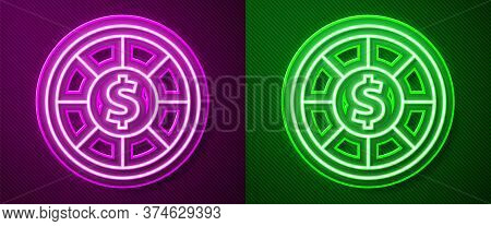 Glowing Neon Line Casino Chips Icon Isolated On Purple And Green Background. Casino Gambling. Vector