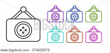 Black Line Tailor Shop Icon Isolated On White Background. Set Icons Colorful. Vector Illustration