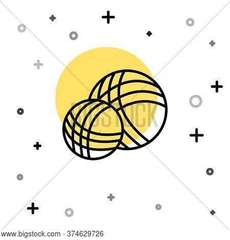 Black Line Yarn Ball Icon Isolated On White Background. Label For Hand Made, Knitting Or Tailor Shop