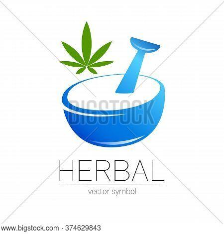 Vector Mortar And Pestle Blue Symbol Logo With Cannabis. Ecology Icon Concept For Medicine, Vegetari