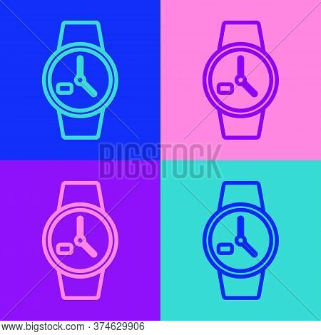 Pop Art Line Wrist Watch Icon Isolated On Color Background. Wristwatch Icon. Vector Illustration