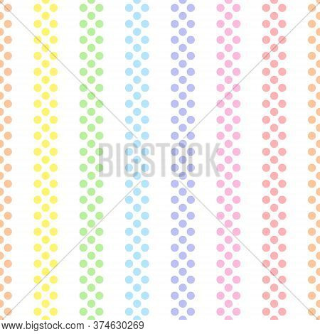 Rainbow Seamless Vertical Striped Pattern, Vector Illustration. Seamless Pattern With Pastel Colorfu