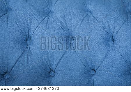 Blue Textile Background, Classic Retro Chesterfield Style Checkered Soft Tufted Fabric Furniture Dia