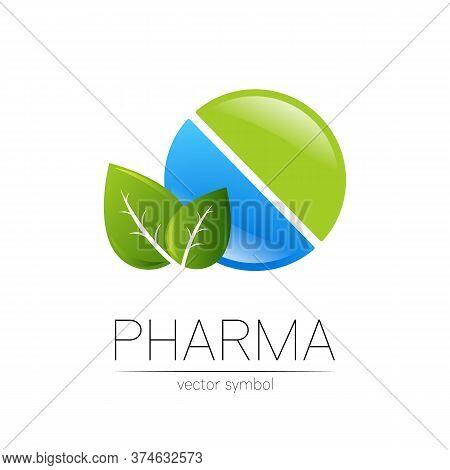 Pharmacy Vector Symbol With Leaf For Pharmacist, Pharma Store, Doctor And Medicine. Modern Design Ve