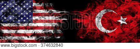 American And Turkish Flags In Smoke On Black. America Vs Turkey Metaphor. Dollar Turkish Lira Exchan