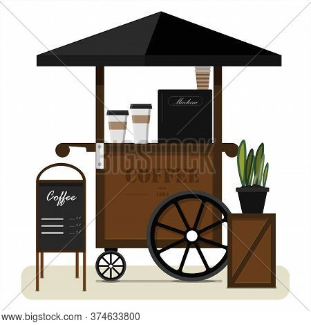 Street Cart Selling Coffee. Flat Illustration Of A Portable Street Stall With A Canopy, Billboard An