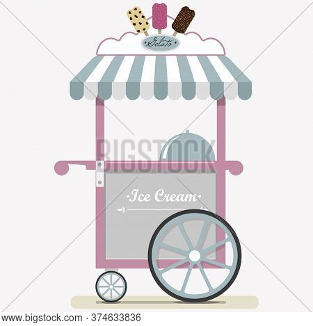 Flat Cute Ice Cream Cart. Diner In The Park, At The Fair, Street And Festival. Illustration In Paste