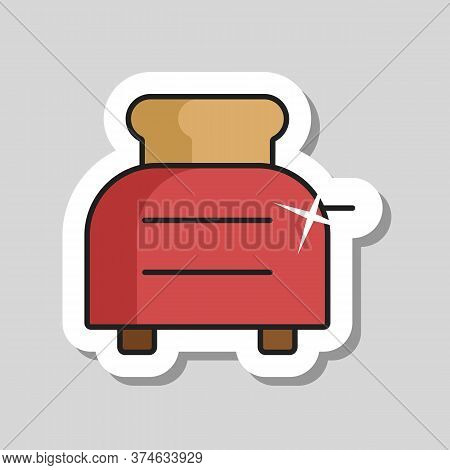 Toaster With Toasts Vector Icon. Kitchen Appliance. Graph Symbol For Cooking Web Site Design, Logo,