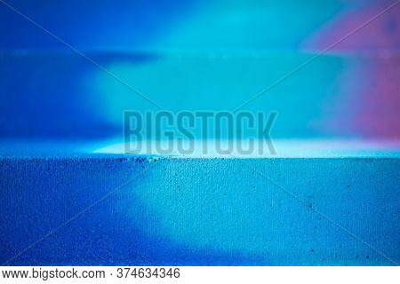 Blue And Purple Splashes Color Abstract Line Concrete Textured Background With Selective Focus. Colo