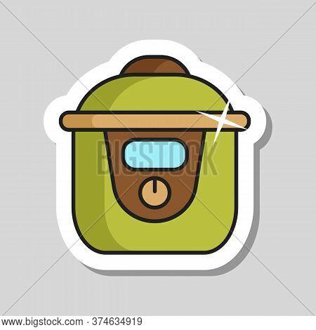 Slow Cooking Crock Pot Vector Icon. Electric Kitchen Appliance. Graph Symbol For Cooking Web Site De