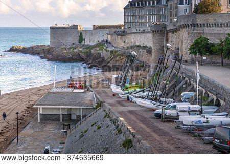 Saint-malo, France - September 3, 2019: This Is A View Of The City Fortifications From Gate Of St. P