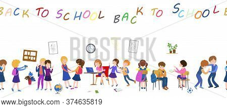 Back To School Seamless Pattern. September Fashion. Fabric Wallpaper Print Texture.children In Class