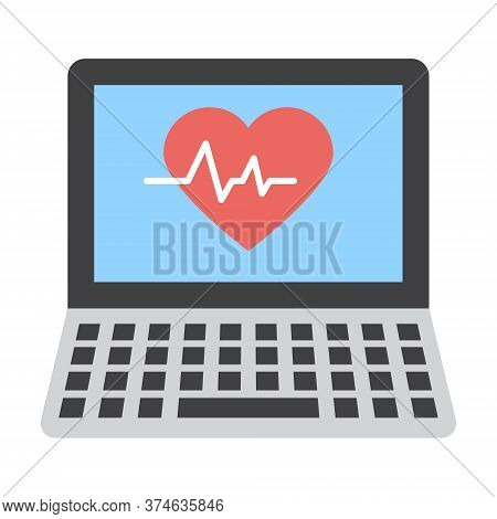 Medical Diagnosis On Monitor Icon. Cardiological Diagnosis On Monitor. Electrocardiogram Sign. Moder