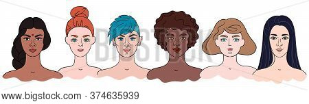 Diversity - Women Portraits In Hand Drawn Style. Vector Set Of Girly Faces. Different Color Of Skin,