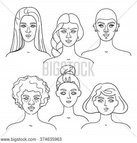 Set Of Diversity Portraits Of Women, Linear Style. Vector Set Of Girly Faces. Different Races, Hairs