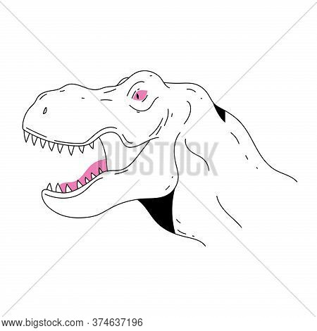 Outline Vector Illustration Of Dinosaur In Minimalistic Trendy Style For Print, Emblem, Logo Design