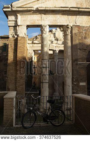 Historic Portico D'ottavia In The Ghetto Of Rome