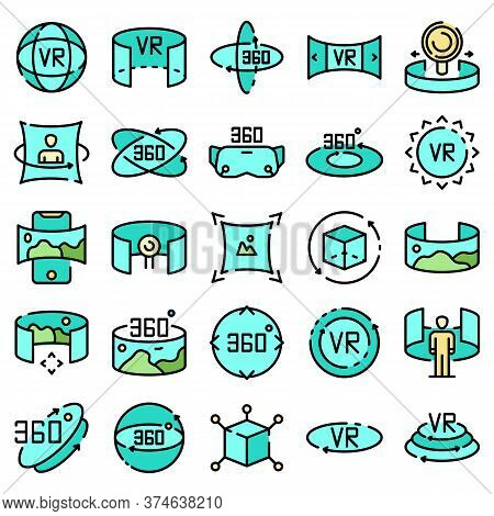 360 Degrees Icons Set. Outline Set Of 360 Degrees Vector Icons Thin Line Color Flat On White