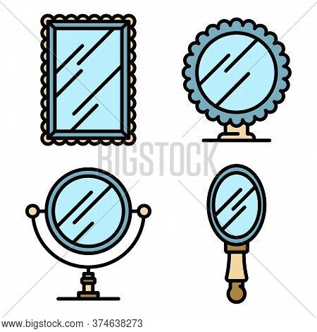 Mirror Icons Set. Outline Set Of Mirror Vector Icons Thin Line Color Flat On White