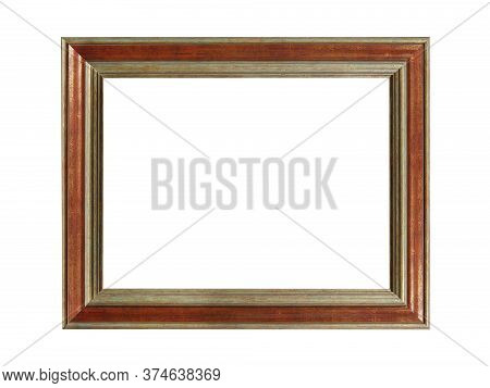 Old Empty Brown Wooden Frame For Paintings With Gold Patina. Isolated On White Background