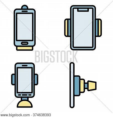Mobile Phone Holder Icons Set. Outline Set Of Mobile Phone Holder Vector Icons Thin Line Color Flat