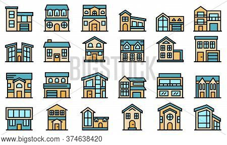 Cottage Icons Set. Outline Set Of Cottage Vector Icons Thin Line Color Flat On White