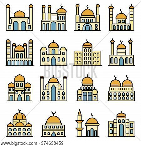 Mosque Icons Set. Outline Set Of Mosque Vector Icons Thin Line Color Flat On White