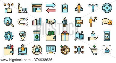 Buyer Icons Set. Outline Set Of Buyer Vector Icons Thin Line Color Flat On White