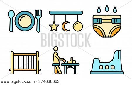 Babysitter Icons Set. Outline Set Of Babysitter Vector Icons Thin Line Color Flat On White