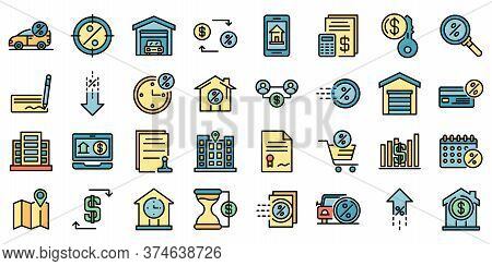 Lease Icons Set. Outline Set Of Lease Vector Icons Thin Line Color Flat On White