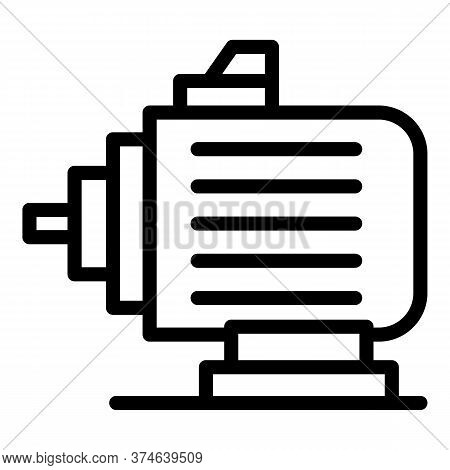 Electric Car Motor Icon. Outline Electric Car Motor Vector Icon For Web Design Isolated On White Bac