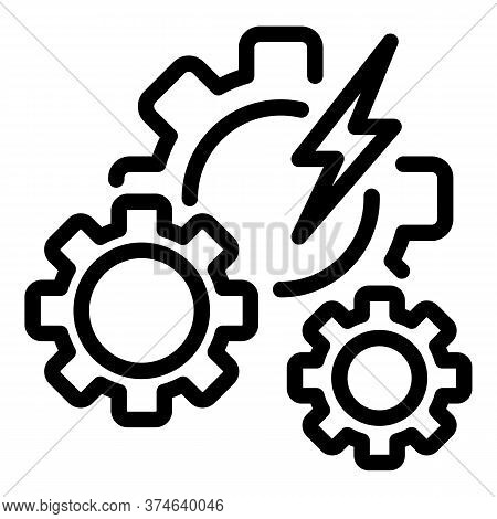 Hybrid Car Gear System Icon. Outline Hybrid Car Gear System Vector Icon For Web Design Isolated On W