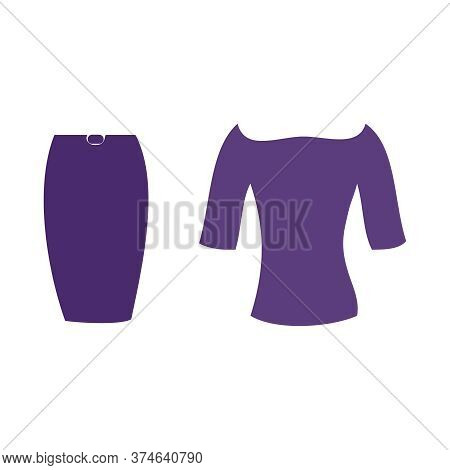 Vector Illustration Of A Purple Dress And Skirt
