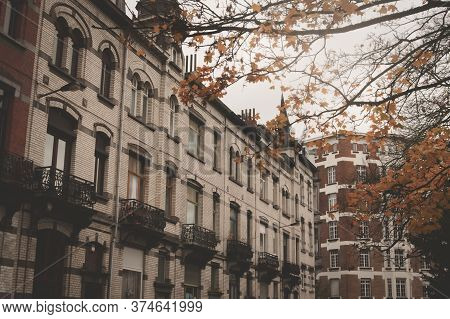 Typical Flemish Architecture On Residential Buildings In Brussels, Belgium.