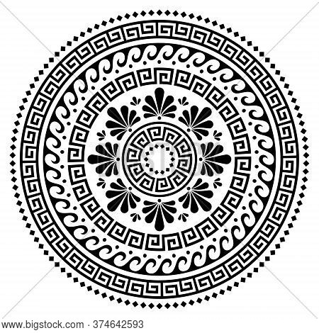 Greek Vector Boho Mandala Design, Ancient Round Wave And Greek Key Pattern Art In Circle Isolated On