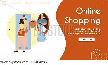 Vector Banner Illustration Of Online Shopping, Fashion Stylist