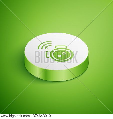 Isometric Robot Vacuum Cleaner Icon Isolated On Green Background. Home Smart Appliance For Automatic