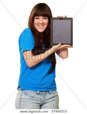 Woman Holding Ipad Isolated On White Background