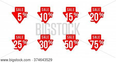 Sale Tag Set In Arrow Down Form With Arrow Down And Different Percentage - 5, 10, 15, 20, 25, 30 50