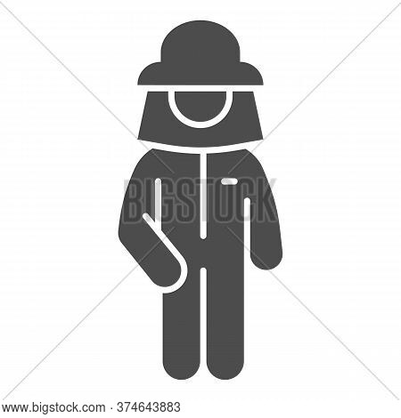 Beekeeper Solid Icon, Beekeeping Concept, Beekeeper In Protection Uniform And Hat Sign On White Back